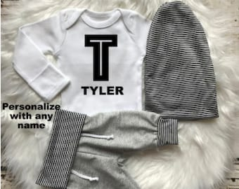 BABY BOY Coming Home Outfit/Baby Boy/Baby Shower Gift/Newborn Boy Coming Home Outfit/Baby Boy Clothes/Beanie/Baby Gift/Woodland/New Mom