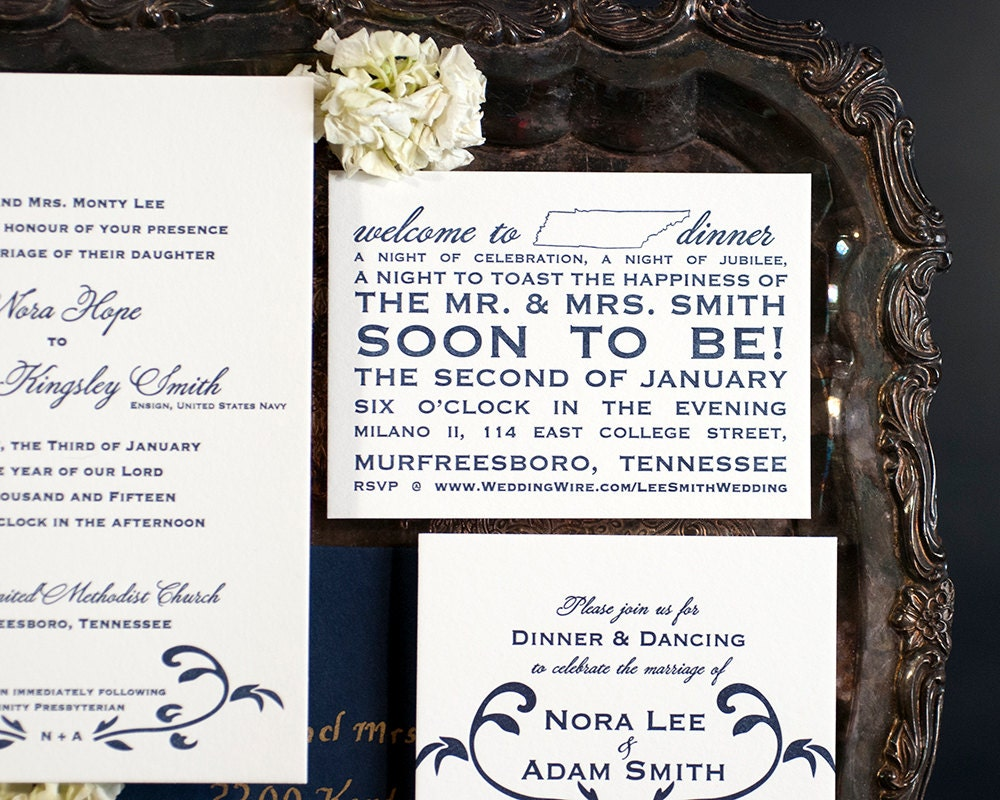 Letterpress Wedding Invitation Suite with Website Card | Traditional ...