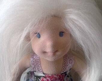 "Waldorf doll, natural fiber art doll, Waldorf inspired doll, 12"", doll, handmade Waldorf doll, organic Waldorf doll"