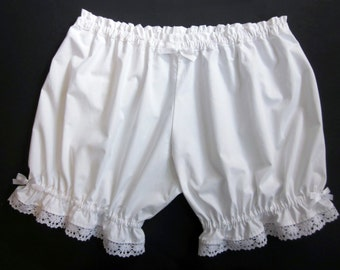 Lolita Bloomers/ Womens Bloomers / White Cotton with Lace / Pajama Shorts
