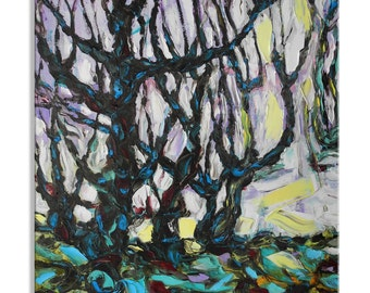 Awakening - original art painting large wall decor home hanging abstract canvas impasto oil garden spring tree forest yellow plants floral