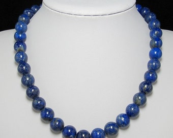 Natural Lapis Lazuli 12mm and 925 Silver 19 inch Necklace