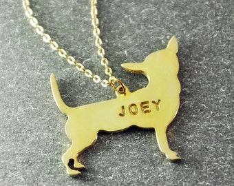 Free shipping  - Chihuahua  necklace Chihuahua  pendant  Customized dog necklace  18K gold plated  dog pendant  custom dog's name jewelry