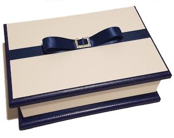 Luscious Navy Blue & White Keepsake Box, Trinket Box, Treasure Box, Jewellery Box, Memory Box, Wooden Box, Wedding Box, Personalised Box