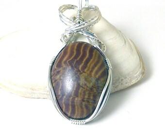 Brown Zebra Jasper and Sterling Silver Pendant