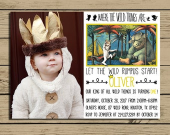 Where The Wild Things Are Invitation  * Where The Wild Things Are Birthday Party Invite With Photo * Personalized * YOU PRINT