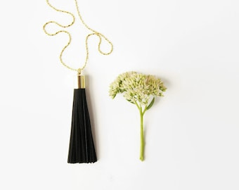 Black Tassel Necklace - Long Tassel Necklace Black Leather