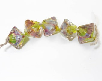 Green Fuchsia Crystal Shaped Handmade Lampwork Glass Spacer Beads - Prima Donna Beads