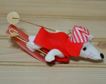Vintage Christmas Oranment Skiing Dog Plastic Skis Wire Poles Red White