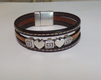 Brown hearts and spirals leather Cuff Bracelet