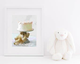 Boulangerie Cake Art Digital Print - Instant Download, Typography, Bakery, Home Decor, Dessert, Nursery Art, Printable, Kitchen Wall Art