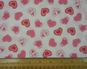 Pink Hearts on White - 3/4 yd