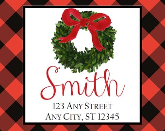 Christmas Address Labels, Red Black Buffalo Check Wreath Square Stickers Gifts, Address Labels, Preppy Labels, Bookplate, Class Parties