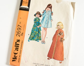 """Vintage 1970s Girls Size 7 Robe in Three Versions McCalls Sewing Pattern 2697 Complete / b26 w23"""" / Knee Ankle Length High Collar"""