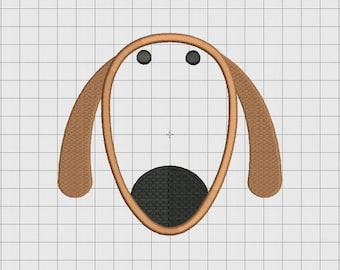 Dog Puppy Long Face Applique Embroidery Design in 3x3 4x4 5x5 and 6x6 Sizes
