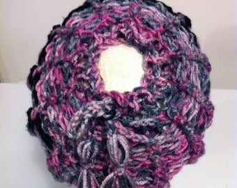 Adjustable Adult/Teen  Messy Bun Hat - Pinks/Grays & Black