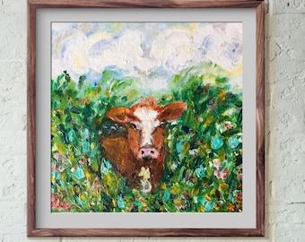 Daisy - Cow in Meadow Print - 8x8 , 10x10 , 12x12 , 20x20
