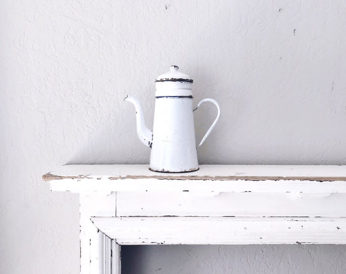 Vintage Enamel Coffee Pot // Farmhouse Collectible