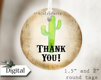 DIY CACTUS #2•Thank You Tags•Printable Tags•Digital Tags•Favor Tags