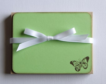 Butterfly Flat Note Cards - Hand Stamped - Set of 10