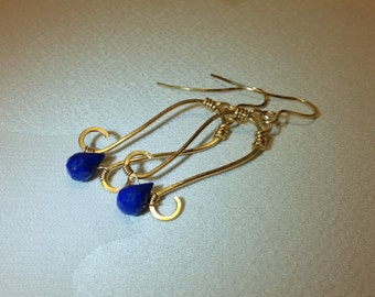 Lapis Lazuli Earrings,Lapis Drop Earrings,Blue Lapis Earrings, Long Gold Earrings,Lapis Lazuli Gold Dangle Earrings