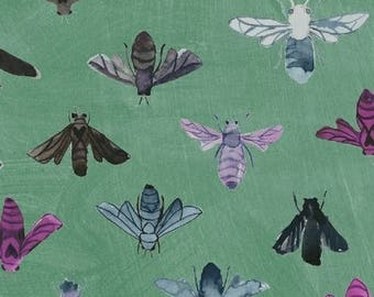 Dreamer by Carrie Bloomston for Windham Fabrics - Full or Half yard Modern Bees on Green