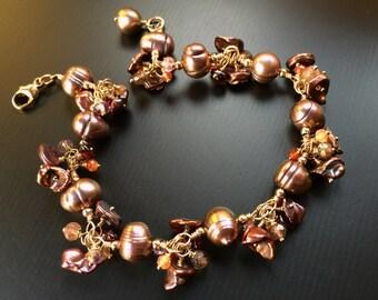 Merlot Pearl Bracelet, Gold Bracelet, Garnet Bracelet, Gift for Her, June Birthday, Amethyst, February Birthstone, You Had Me at Merlot