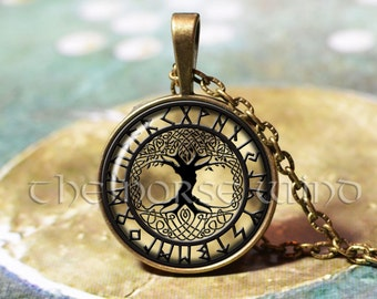 Viking Rune Necklace, Yggdrasil Viking Necklace Tree of Life, Viking Pendant, Celtic World Tree, Norse Mythology, Asatru, Viking Jewelry