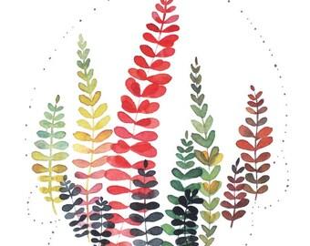 Watercolor foliage, Multicolor leaves, Watercolor art, Foliage painting, Foliage illustration, Foliage fine art, Vegetal art, Vegetal decor