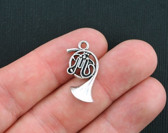 10 French Horn Charms Antique Silver Tone - SC3587