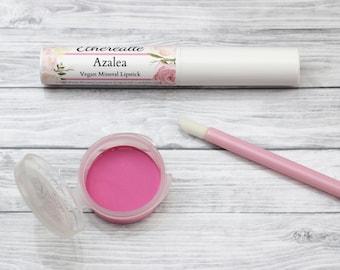"Vegan Bright Pink Lipstick - ""Azalea"" mineral makeup"