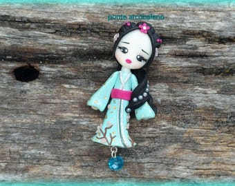 Japanese girl necklace/ geisha/ clay/ handmade/ blue/ crystal/ jewelry/ collection/ doll