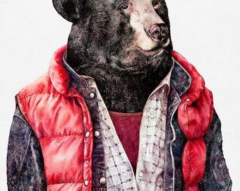 BLACK BEAR Art Print, Bear Illustration, Animals in Clothes, Cool Bear, Bear Poster, Boys room Poster, Hipster Animals, Animal Poster