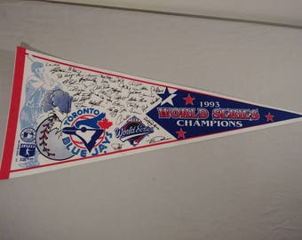 Vintage MLB Toronto Blue Jays World Series Pennant Banner/ Flag