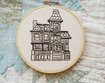 Old House Artwork Embroidery FIVE INCH Hoop
