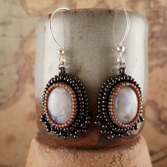 Beaded Moonstone Ocal Crystal Earrings