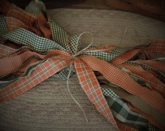 """50 Primitive Homespun Fabric Strips~Autumn Leaves Collection~ 1"""" x 18"""" ~Ties~Bows~Crafts~Accents~"""