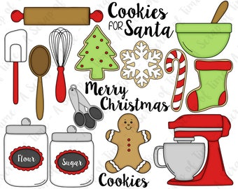 Christmas Cookies Hand Drawn Digital Clipart - Set of 18 - Cookies, Gingerbread Man, Mixer, Whisk - Instant Download - Item #9179