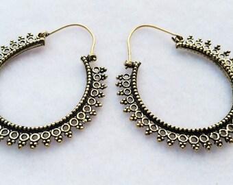Brass Hoop Earrings, Hoop Earrings, Boho Earrings, Tribal Jewellery, Ethnic Jewellery, Silver Jewellery, Indian Jewellery