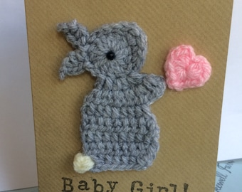 "Handmade Bunny ""Baby Girl"" Crochet Greeting Card"