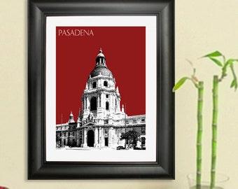 Pasadena Skyline Poster - Pasadena City Hall Print - Pasadena Cityscape Poster Art Print