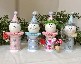 Old Fashioned Snowman Ornaments with Bottlebrush Tree, Wreath or Candy Christmas Ornaments Decorations