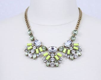 Neon Green Necklace Crystal Mint Statement Necklace Chunky Bib Necklace