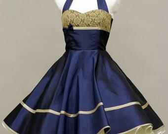 50's vintage dress full skirt dark blue taffeta with beige lace custom made