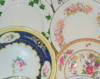 6 (6pc) Job Lot Vintage Mismatched China Mix Medium Salad Lunch Luncheon Dessert Starter & Mismatched plates | Etsy