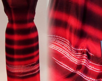 Black and Red Ombre Satin With White Detailing - 44 Inches Wide
