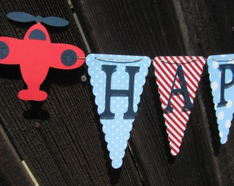 Navy, Light Blue and Red Happy Birthday Banner, Airplane Birthday Banner, Birthday Decorations, Vintage Airplane Party