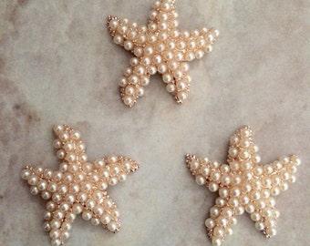 Pearl starfish buttons, starfish centers, headband supplies, gold button, gold and rhinestone, flat back button, beach wedding, wedding