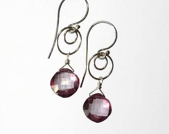 Pink Earrings Pink Drop Earrings Pink Briolette Earrings Pink Hoop Earring Sterling Silver