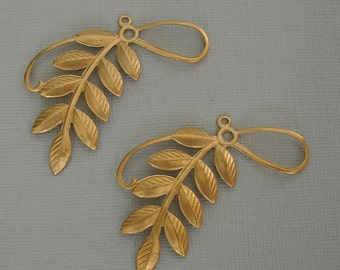 2-Branch  Leaf Embellishment  Raw Brass  Stamping Pendant Connector.